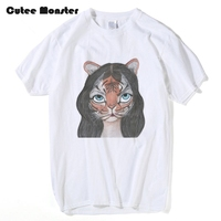Cutee Monster Tiger Girl Printed T Shirt Men Katy Perry Song ROAR T Shirt Women Cartoon