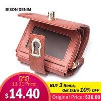 BISON DENIM Genuine Leather Women Short Wallet Women's Purse Zipper Metal Lock Purse Small Wallet Coin Pocket Cartera N3279