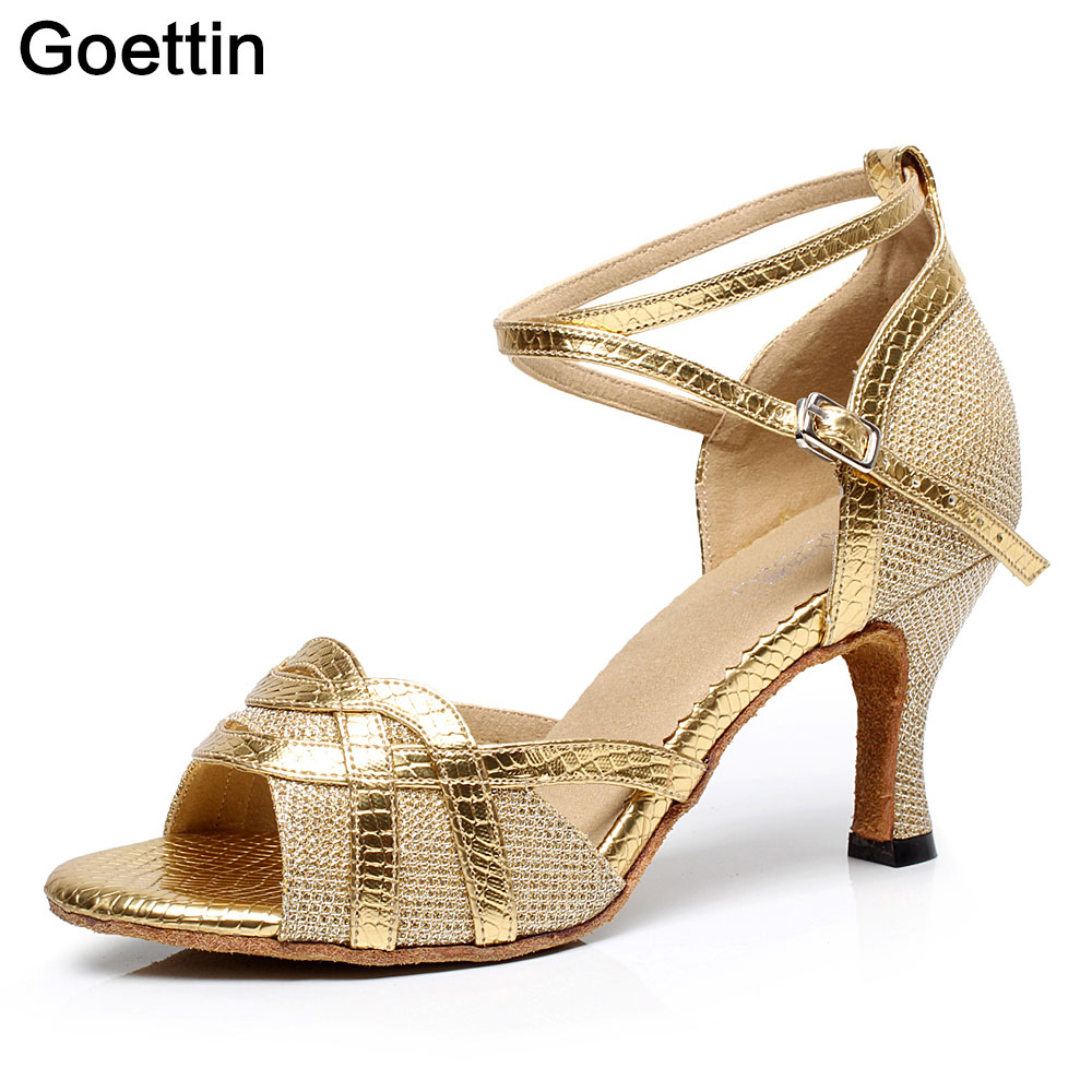 Goettin Brand 7027 Shining Latin Dance Shoes para mujer y Lady Salsa Dancing Shoes