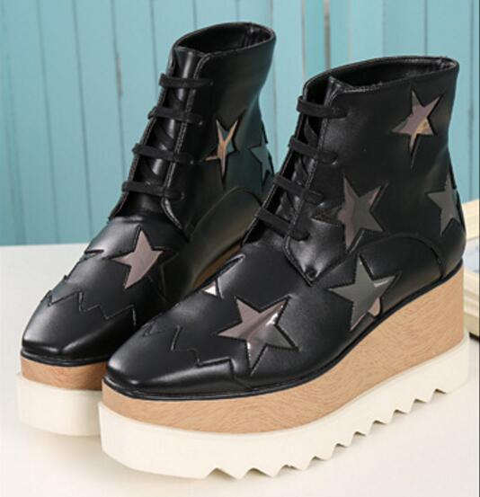 European fashion winter warm ankle boots height increasing wedge heels lace up platform martin boots square toe platform shoes