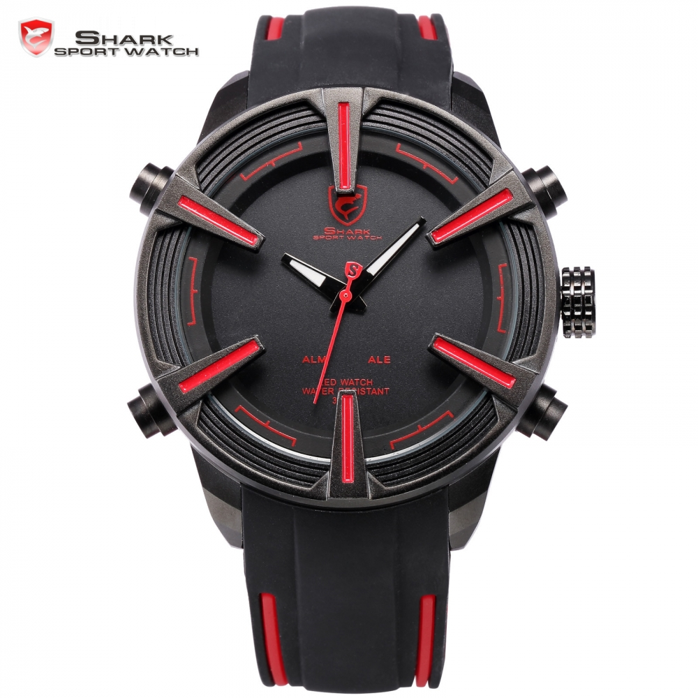 Dogfish Shark Brand Digital Watches Auto Date LED Black Red Silicone Strap Relogio Sport Military Men Quartz Wristwatch / SH384 voodoo ii shark army auto date black silicone strap military wristwatch sports clock men military quartz wrist watches saw177