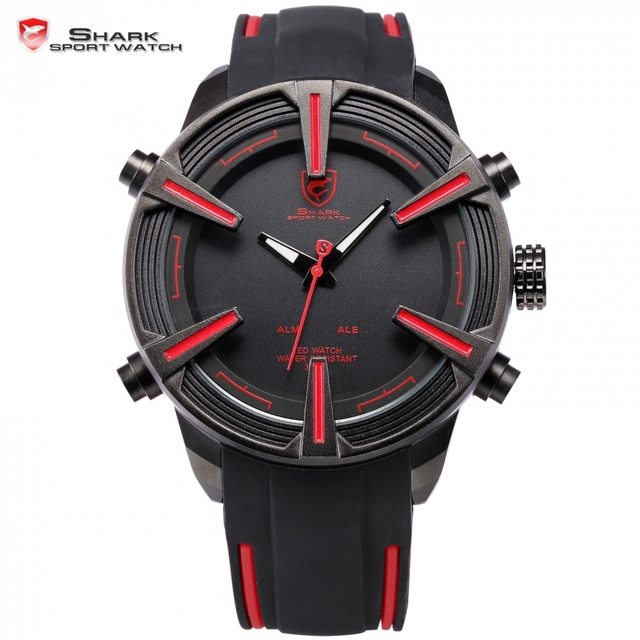 2f17057d44a7 Tiburón tiburón marca Digital relojes Auto fecha LED negro rojo correa de  silicona Relogio Deporte Militar