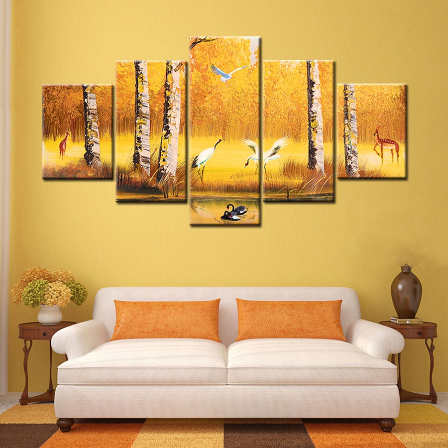 Golden Japanese Oil Canvas Painting For Living Room Wall Art Print ...