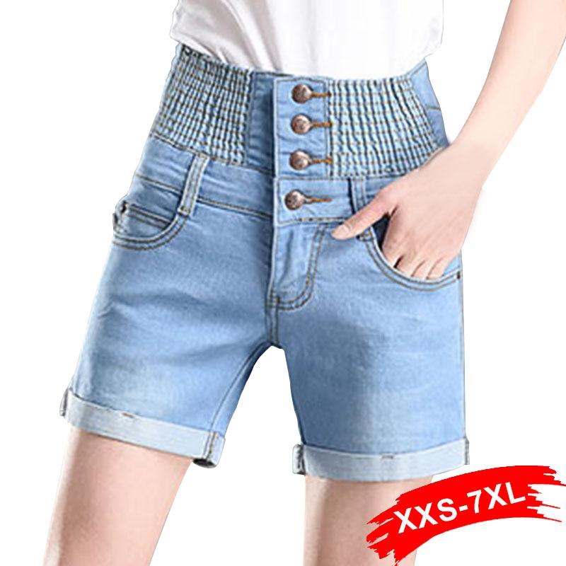 Plus Size High Elastic Waist Hemming Casual Denim Shorts 3XL 5XL Women Button Summer Beach Large Size Blue   Jeans   Shorts Female