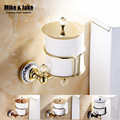 New luxury Wall Mounted crystal head brass gold paper box roll holder toilet gold paper holder tissue roll paper box holder
