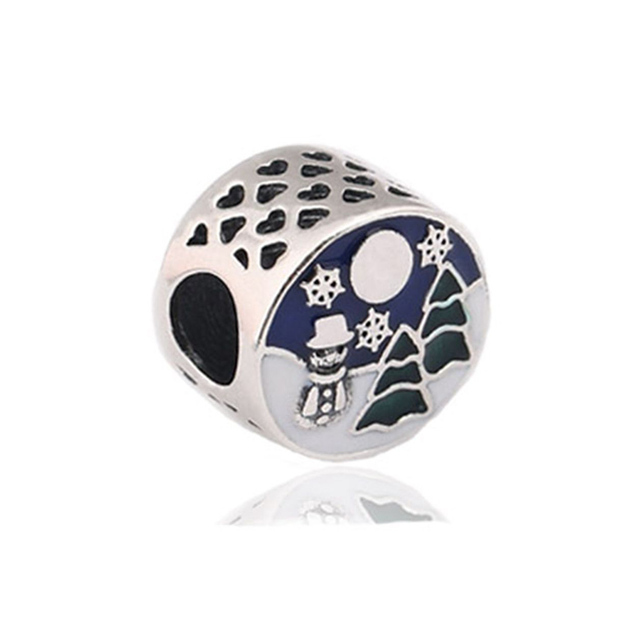2017 winter enamel christmas tree charms beads fits for pandora bracelet 925 sterling silver snowman bead