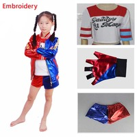 4pcs Suicide Squad Kids Halloween Party Cosplay Costumes Harley Quinn Carnival Costume Embroidery Suicidal Jacket Costume