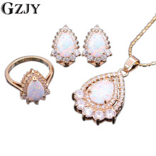 GZJY Fashion Party Gold Color White Fire Opal Zircon Pendant Necklace Ring Earrings Jewelry Sets For Women Gift