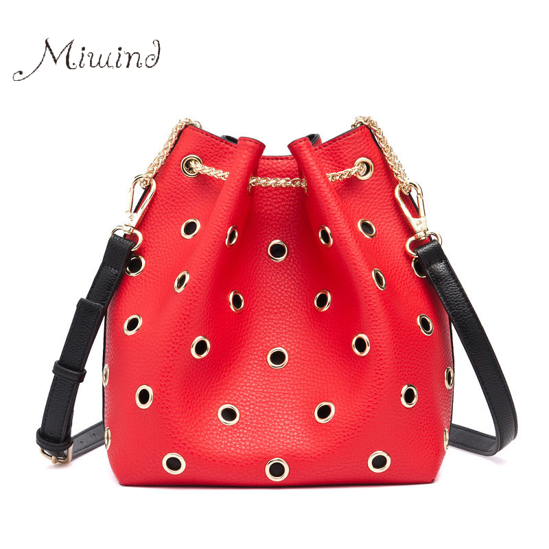 Women New Bags Handbag Tote Crossbody Over Shoulder Messenger Sling Leather Bucket Chain Red High Quality 2017 Female Set Bag