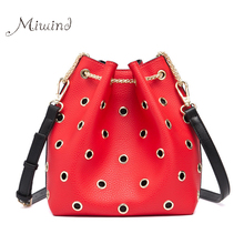Women New Bags Handbag Tote Crossbody Over Shoulder Messenger Sling Leather Bucket Chain Red High Quality