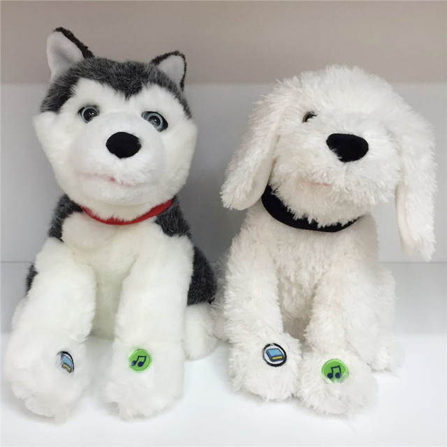 Schnauzer Huskies Tell Stories Sing Songs Usb Downloads Music Sound Simulation Dog Plush Soft Doll Animal Stuffed Toy For Gift