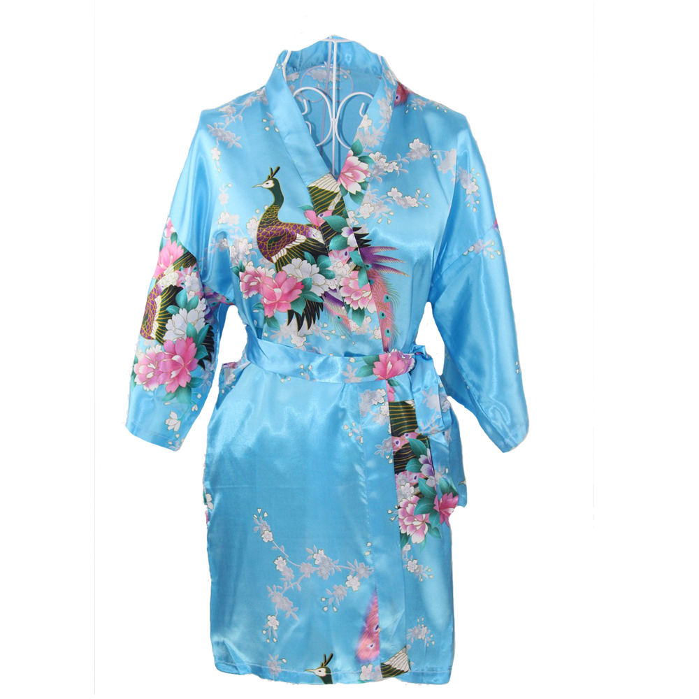 Blue Short Satin Plus Size Ladies Nightgown Womens Sexy Kimono Bath Gown Bridesmaid Wedding Robe Dress Casual Night Dress