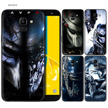 Abstracte Zwart Siliconen Case voor Samsung Galaxy J4 J6 A6 A8 Plus A7 A9 J8 2018 A5 2017 Soft Cover shell Alien vs Predator Anime(China)