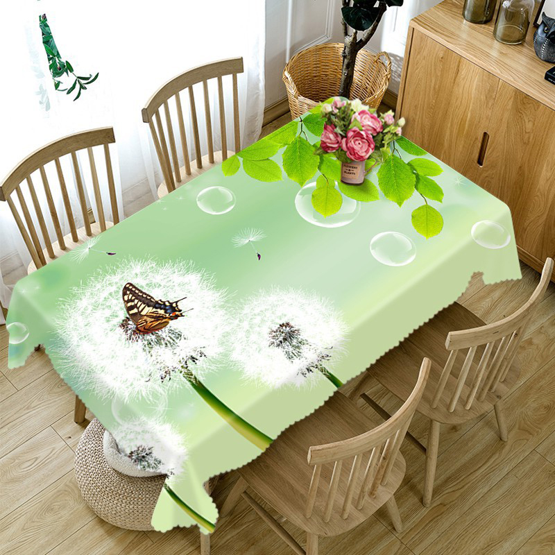 High Quality 3d Round Tablecloth Green Cane Vine Flower Pattern Washable Dustproof Thicken Cotton Rectangular Table Cloth in Tablecloths from Home Garden