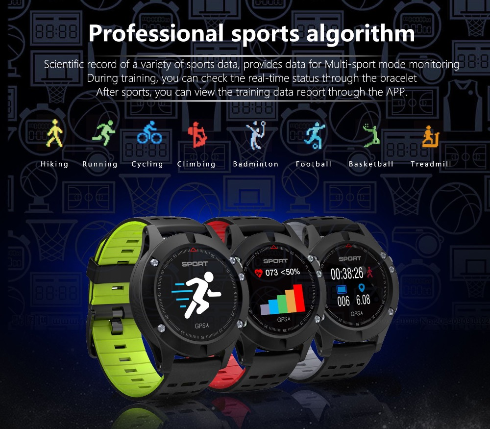 Celiadwn F5 GPS Smart watch Altimeter Barometer Thermometer BT Heart Rate Monitor Multi-Sport Mode Wristband For iOS Android