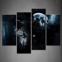 4 Panel Wall Art Black Wolf And Full Moon Painting The Picture Print On Canvas Animal Pictures For Home Decor Drop shipping