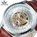 SEWOR Relógio Mecânico negócio Dos Homens MARCA de Moda Design de Couro Esqueleto Masculino Exército Relógio Auto vento Relógio De Vestido de Luxo SWQ21
