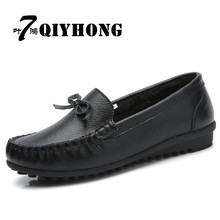 QIYHONG  BRAND Winter Fashion New Hot Sell High-Quality Flat-Bottomed Genuine Leather  Velvet Women Shoes Size35~40