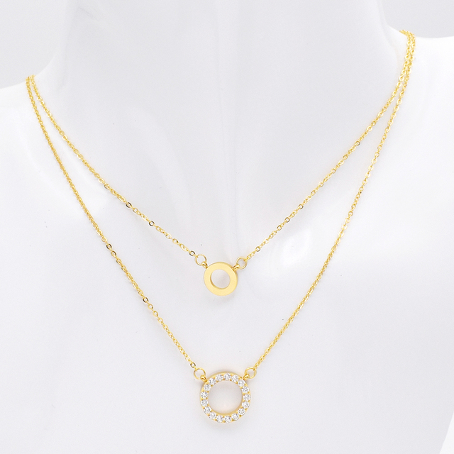 2bab2b48205 QLZBAO New Fashion Design Women Necklace Stainless Steel Zircon Double  layer Necklace Women Luxury Jewelry Best Gift For Wedding