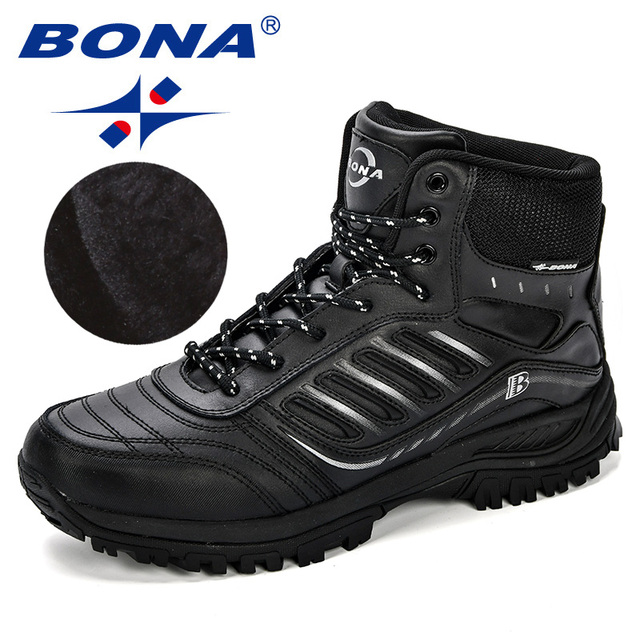 BONA Men Hiking Shoes Mid-Top Split Leather Outdoor Sneaker Men Comfy Trekking Boots Men Trail Camping Climbing Hunting Sneakers 2