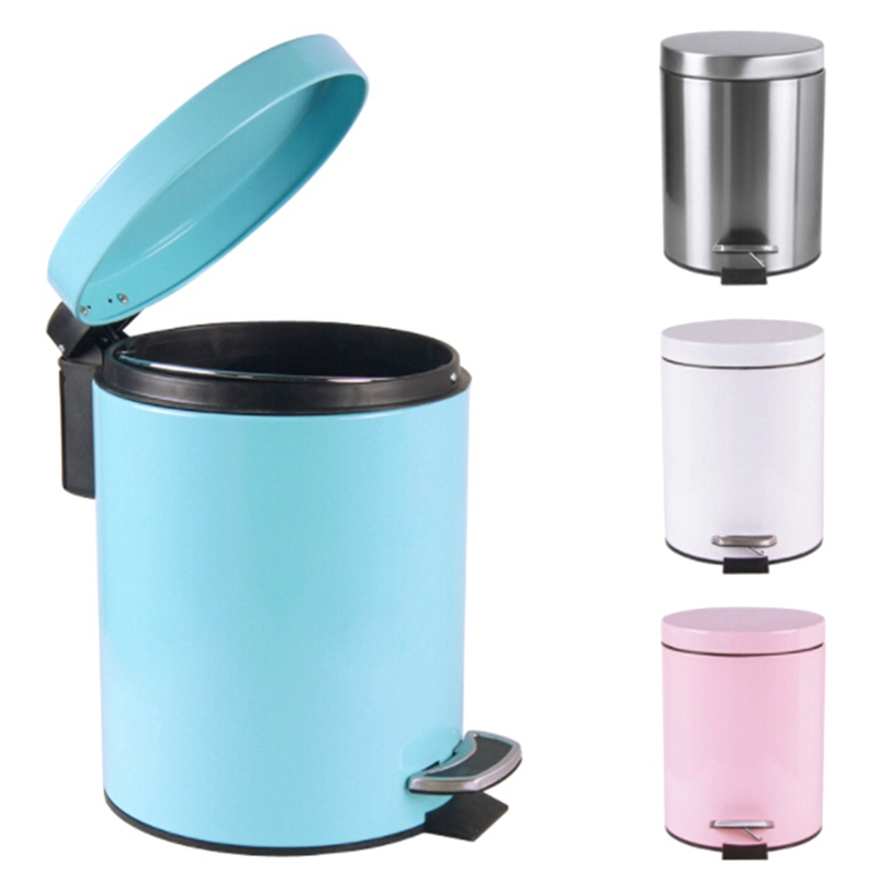 1Pcs High Quality 5L Mute Garbage Pail Stainless Steel Round Step Trash Can Foot Pedal Dustbin Garbage Bin with Lid For Kitchen