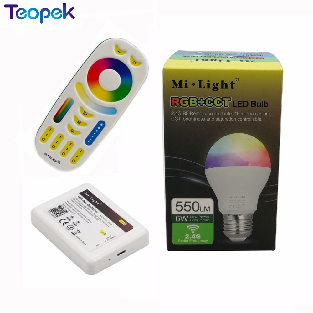 Mi.Light 6W E27 RGB+CCT Dimmable LED Bulb AC110V 220V FUT014 + WiFi iBox2 +  2.4G Wireless 4-Zone Touch Remote