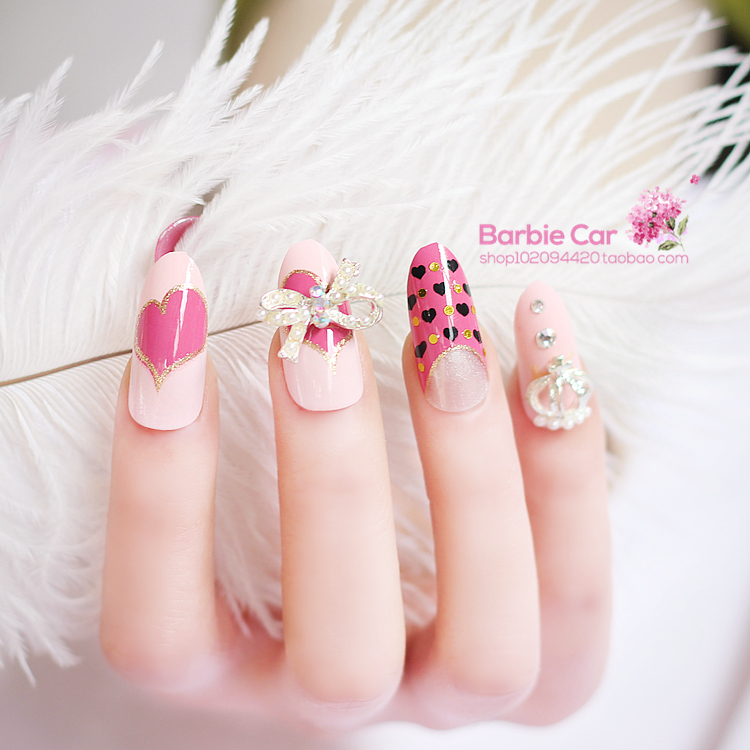 Pink butterfly Japanese 3D fake nails Cute french pure color false ...