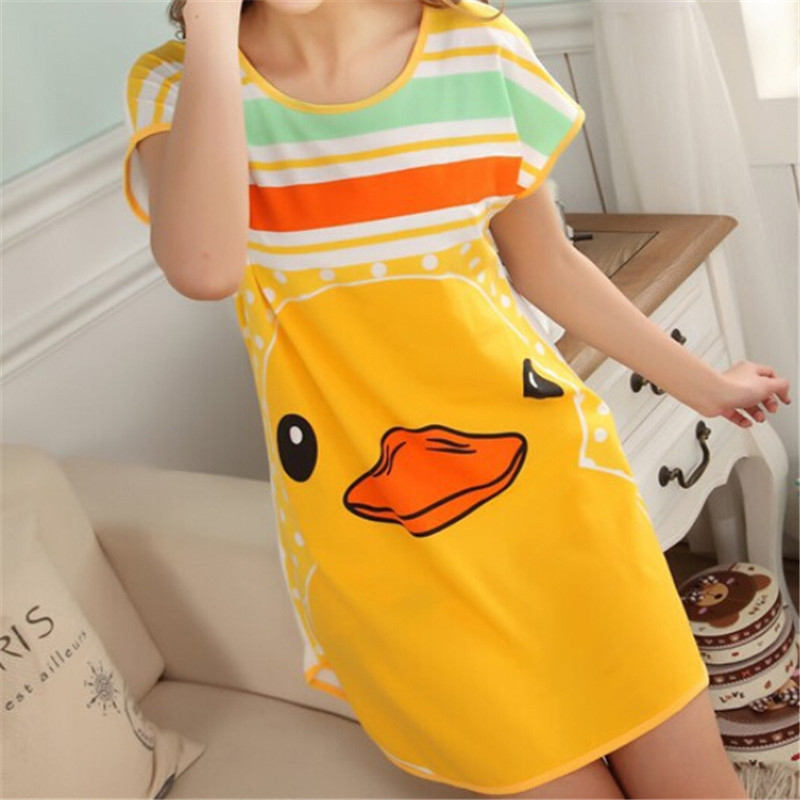 Cartoon Lovely Cute Polka Dot Printting Women Ladies Female Sleepwear Summer Short Sleeve Nightgown 2068