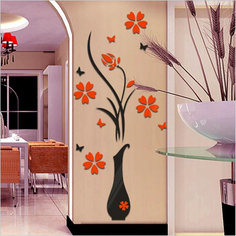3D Flower Vase DIY Mirror Wall Decals Stickers Art Home Room TV Decor  46cm*102cm