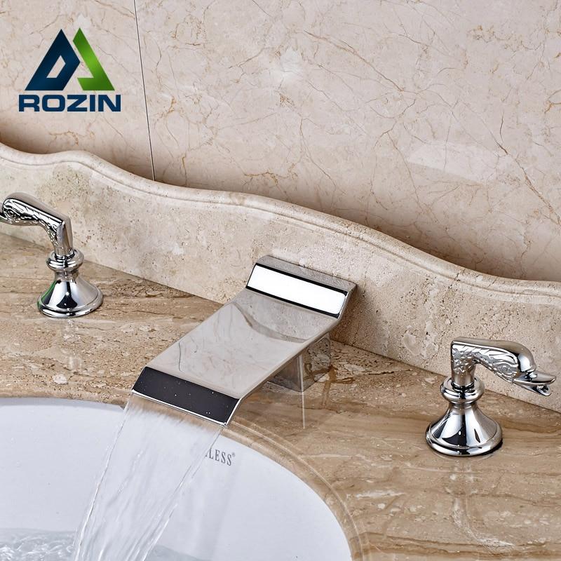 2016 New Chrome Waterfall Bath Sink Faucet Widespread 3 Holes Bathroom Basin Mixer Taps кабель vga aopen acg341ad 15m acg341ad 15m