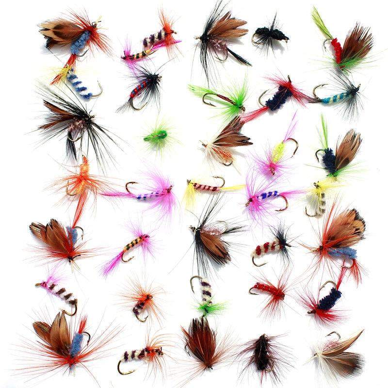 KKWEZVA 36 pcs Leurre pêche À la Mouche Crochets Papillon Insectes Style Saumon Mouches Truite Unique Sec Pêche À la Mouche Leurre De Pêche