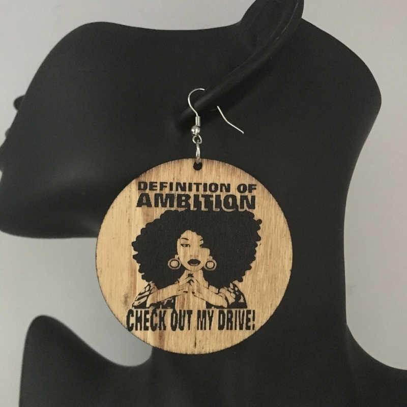Free Shipping!definition of ambition Wooden Earrings