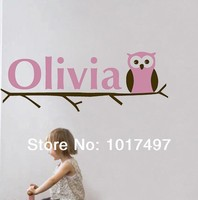 Free Shipping Baby Girl Name Owl Wall Decal Sticker Personalized Name Kids Girl Owl Vinyl Wall