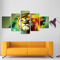 FIVE PC NO FRAME Colorful tiger Oil Painting Printed Oil Painting canvas Painting posters and prints Home Decor wall art