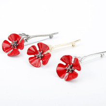 Ladies new fashion poppies brooch glamour creative metal drip flower pin delicate clothing