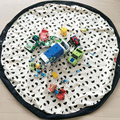 1.4M Cartoon INS Bear Moustache Storage Bag Laundry Play Pouch Canvas for Toys Clothes Baby Crawling Blanket Round Play Mat