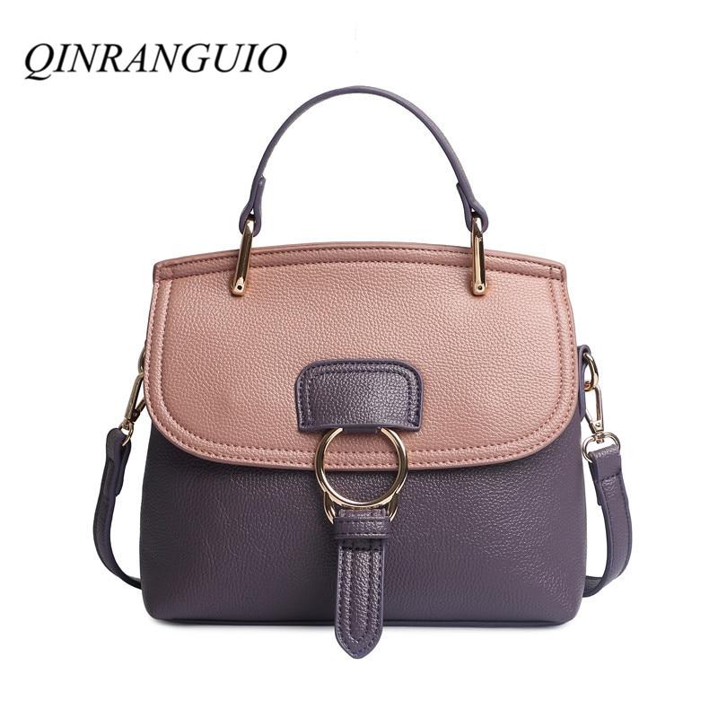 QINRANGUIO Women Bag Fashion Crossbody Bags For Women 2019 Panelled PU Leather Women Handbags Shoulder Bag Women Messenger Bags