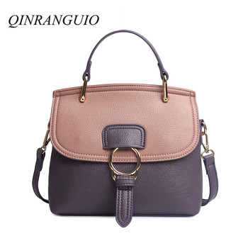 цена на QINRANGUIO Women Bag Fashion Crossbody Bags for Women 2020 Panelled PU Leather Women Handbags Shoulder Bag Women Messenger Bags