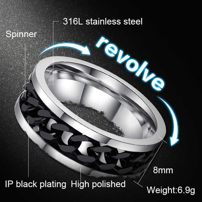 Meaeguet spinner chain ring men aço inoxidável metal não desvanecer ouro preto azul cor prata cor aliviar o estresse