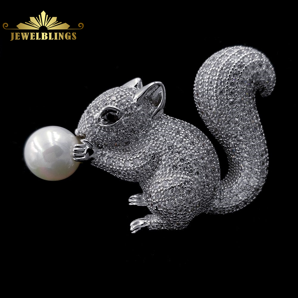 все цены на Cute Jewelry White Mother of Pearl and Squirrel Brooch Silver Tone Micro Pave CZ Brown Eyes Vintage Figural Squirrel Pins Broach