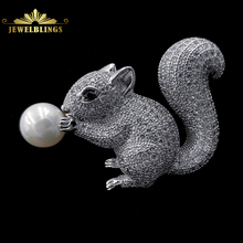 Cute Jewelry White Mother of Pearl and Squirrel Brooch Silver Tone Micro Pave CZ Brown Eyes Vintage Figural Squirrel Pins Broach
