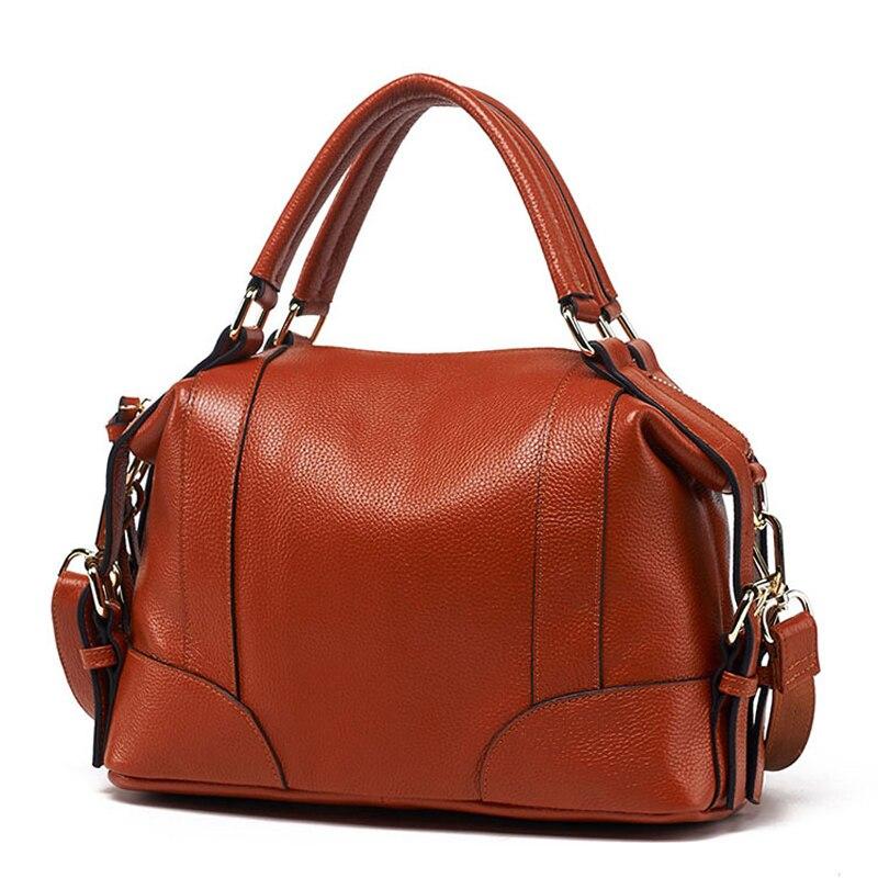 Women Boston Handbags Ladies Luxury Totes Genuine Leather Shoulder Crossbody Bags For Female Pillow Bag Fashion Messenger Bags