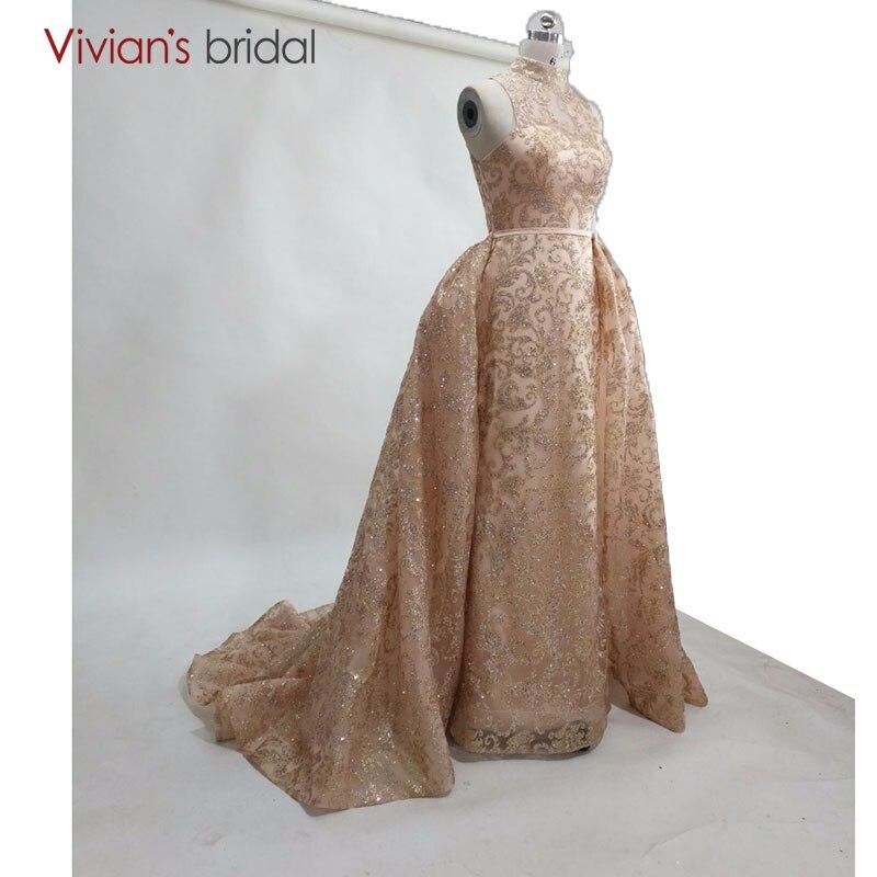 Vivian's Bridal 2018 Champagne Gold   evening   gown vestidos de festa vestido longo High Neck Sequined Formal   Evening     Dresses