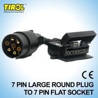 TIROL T21579a 7 Pin Plug Connector Trailer Boat Truck Car Adaptor 7 Pin Flat Socket To