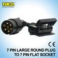 Tirol t21579a 7 pin conector adaptador de remolque del barco del carro del coche 7 Toma de Clavija Plana a 7 Pin Conector Redondo Grande Envío gratis