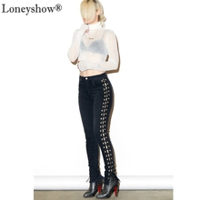 Fashion Skinny Women's Long Denim Pencil Pants Sexy Cross Lace Up Ripped Boyfriend Black Jeans For Lady Cool Club Streetwear