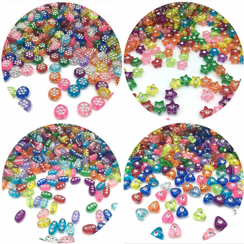 100pcs/Lot Cheap Multiple Shapes Acrylic Beads DIY Handmade Bracelet Jewelry Accessories Making Wholesale Color Random Delivery