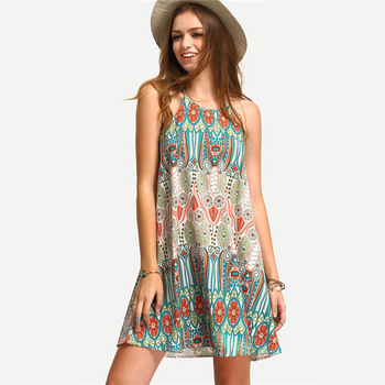Women Beach Dress Vintage Sexy Cover-Up Summer Mini Dress Evening Party Cocktail New Cover Ups Pareo Beach Wear