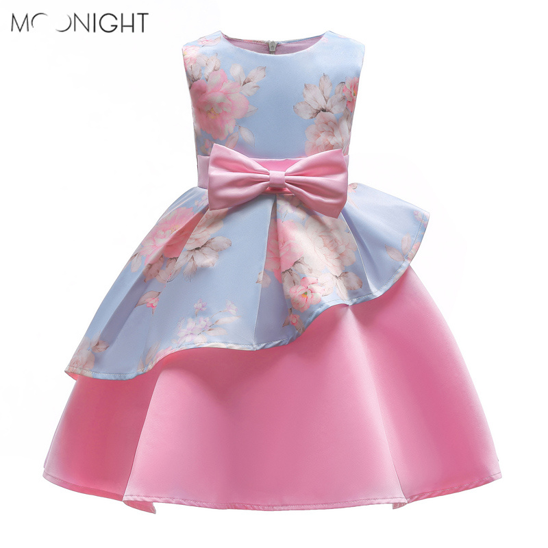 MOONIGHT Halloween Kids Costume Alice in wonderland Dress Girls Irregular Print Children's Dress With Bow Party Princess Dress