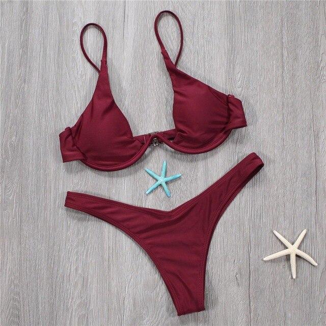 0cb1e96f8249 € 5.91 6% de DESCUENTO|2018 mujeres Tanga sólido micro bikinis set sexy  brasileña vintage vino rojo traje de baño femenino biquini en Bikinis Set  ...